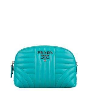 Prada Blue/Bluemarine Leather Diagramme Clutch Bag