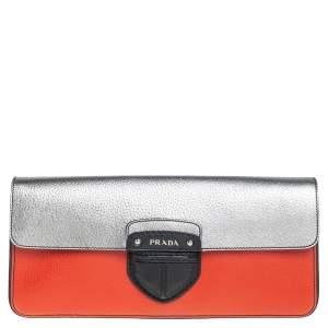 Prada Tri Color Leather Cinghiale Flap Clutch
