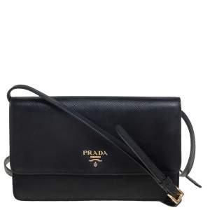 Prada Black Saffiano Leather Flap Crossbody Bag