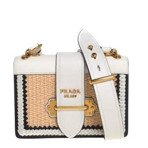 Prada White/Beige Whipstitched Leather and Raffia Cahier Shoulder Bag