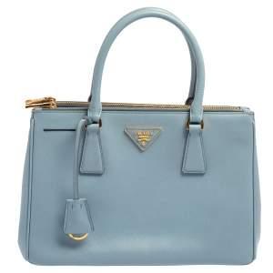 Prada Powder Blue Saffiano Lux Leather Small Galleria Tote