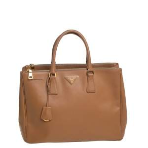 Prada Tan Saffiano Lux Leather Large Double Zip Tote