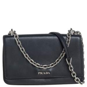 Prada Black Leather Flap Chain Shoulder Bag