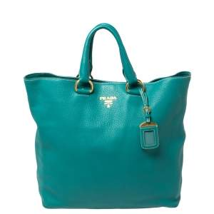 Prada Teal Green Vitello Daino Leather Shopping Tote