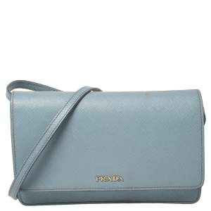 Prada Blue Leather Flap Crossbody Bag