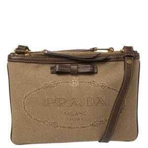 Prada Brown Canvas and Leather Crossbody Bag