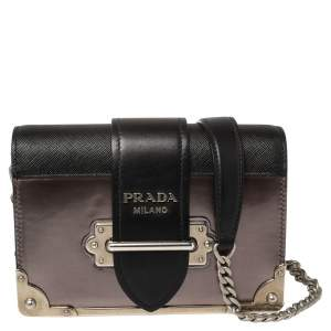 Prada Black/Metallic Saffiano Lux and Patent Leather Cahier Shoulder Bag