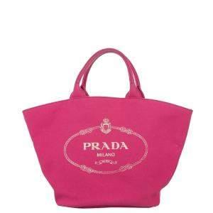 Prada Pink Canvas Canapa Logo Bag