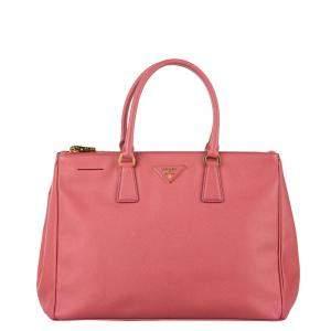 Prada Pink Saffiano Leather Double Zip Galleria Satchel Bag