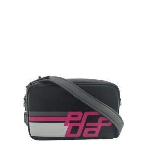 Prada Black/Pink Leather City Calf Logo Camera Bag