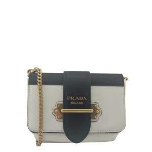 Prada White/Black Saffiano Leather Cahier Bag