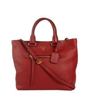 Prada Red Leather Vitello Daino Tote Bag