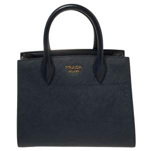 Prada Navy Blue/White Saffiano Leather Bibliotheque Tote