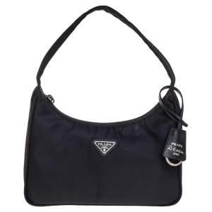 Prada Black Nylon Re-Edition 2000 Baguette Bag