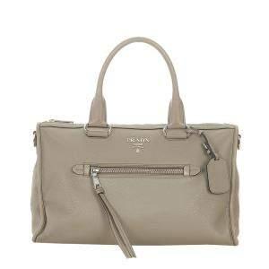 Prada Grey Leather Vitello Daino Satchel Bag