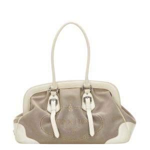Prada Brown/White Leather trimmed Tessuto Canapa Bag