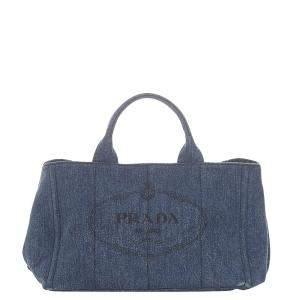 Prada Blue Denim Canapa Logo Tote Bag