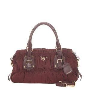 Prada Red Canvas Tessuto Gaufre Satchel Bag