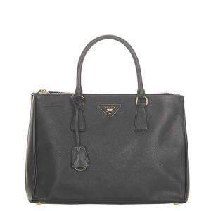 Prada Black Saffiano Leather Lux Double Zip Galleria Satchel Bag