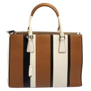Prada Tri Color Stripped Saffiano Leather Zip Tote Bag