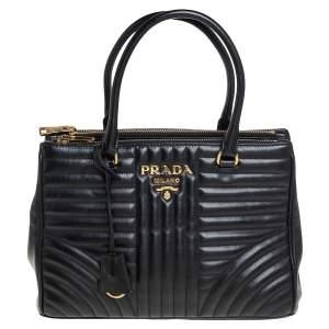 حقيبة يد برادا سحاب مزدوج جلد مبطنة دياغرام أسود