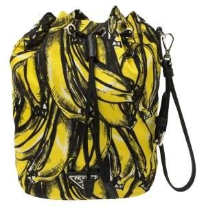 Prada Black/Yellow Printed Nylon Wristlet Pouch
