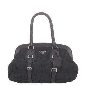 Prada Black Canvas Tessuto Gaufre Frame Shoulder Bag
