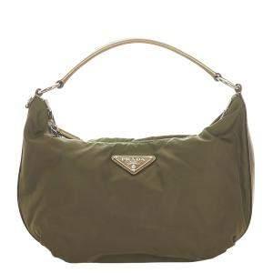 Prada Black Nylon Tessuto Hobo Bag