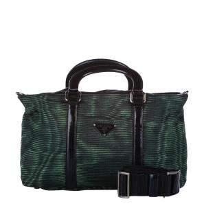Prada Green/Black Leather Nylon Tessuto Satchel Bag