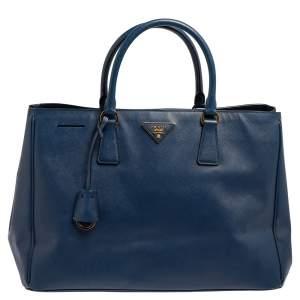 حقيبة يد برادا غاردينيرز كبيرة جلد سافيانو لوكس أزرق