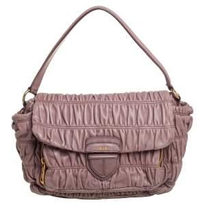 Prada Old Rose Matelassé Leather Front Pocket Flap Hobo