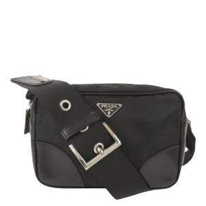 Prada Black Leather, Fabric, Nylon Tessuto Shoulder Bag