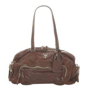 Prada Brown/Dark Brown Leather Shoulder Bag