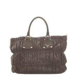 Prada Brown/Dark Brown Nappa Leather Gaufre Satchel Bag