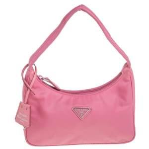 Prada Pink Tessuto Nylon Re-Edition 2000 Baguette Bag