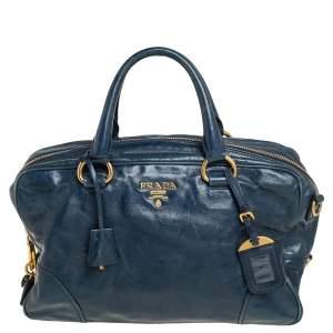 Prada Dark Teal Blue Vitello Shine Leather Boston Bag