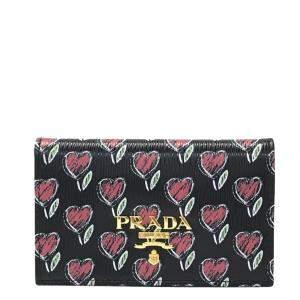 Prada Black Leather Love Hearts Wallet