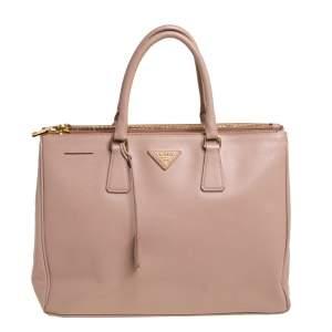 """حقيبة يد برادا """"غاليريا"""" متوسطة سحاب مزدوج جلد سافيانو بيج"""