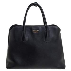 Prada Black Saffiano Cuir Leather Dome Satchel