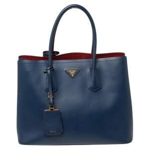 Prada Blue Saffiano Leather Bibliotheque Tote