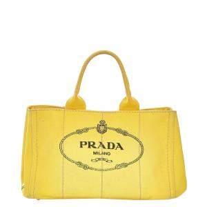 Prada Yellow Canvas Canapa Tote Bag