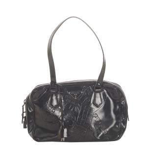 Prada Black Embossed Leather Shoulder Bag