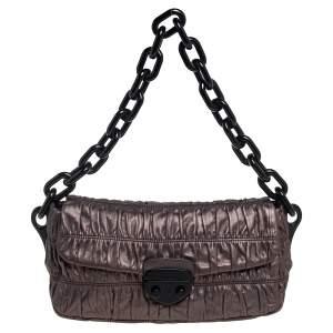 Prada Metallic Bronze Gaufre Leather Chain Shoulder Bag