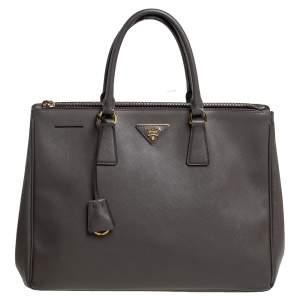 Prada Dark Grey Saffiano Lux Leather Large Galleria Tote
