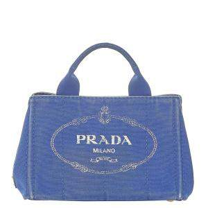 Prada Blue Canvas Canapa Tote Bag