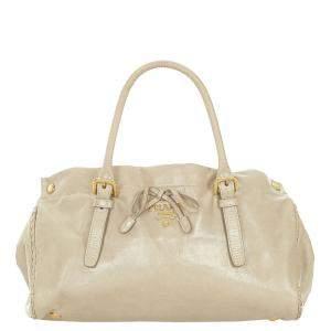Prada Beige/Brown Leather Top Handle Bag