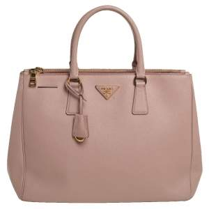 Prada Dusky Pink Saffiano Lux Leather Large Galleria Tote