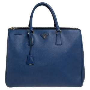 Prada Blue Saffiano Lux Leather Executive Galleria Tote