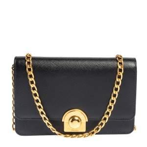 Prada Black Saffiano Leather Arcade Wallet on Chain