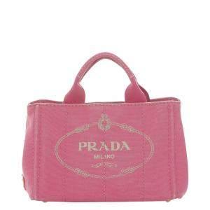 Prada Pink Canvas Canapa Logo Tote Bag